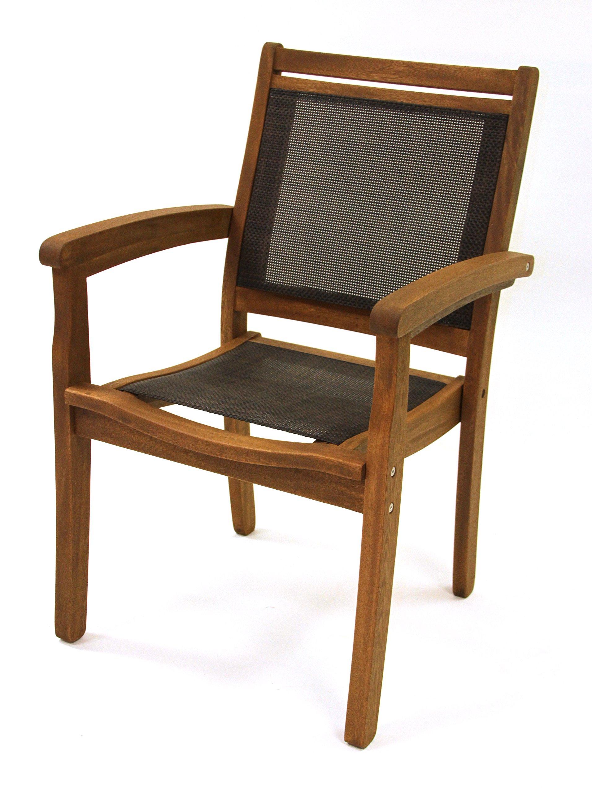 Outdoor Interiors 10555DK Sling and Eucalyptus Stackable Arm Chair, Dark Brown