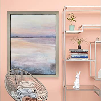 Amazon.com: Renwil Plateau Rectangular Silver Leaf Framed Canvas Oil Painting - Pink/Multi-Color/Purple: Paintings