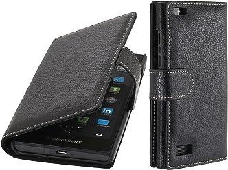 StilGut Talis, Custodia in Vera Pelle per Blackberry Leap con Scomparti per Carte di Credito, Biglietti da Visita e Banconote, Nero