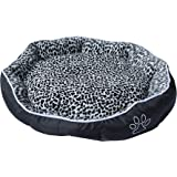 ALEKO PB05M Medium 24X20X5 Inch Soft Plush Pet Cushion Crate Bed For Dogs and Cats With Removable Insert Pillow, Black and White Leopard Print