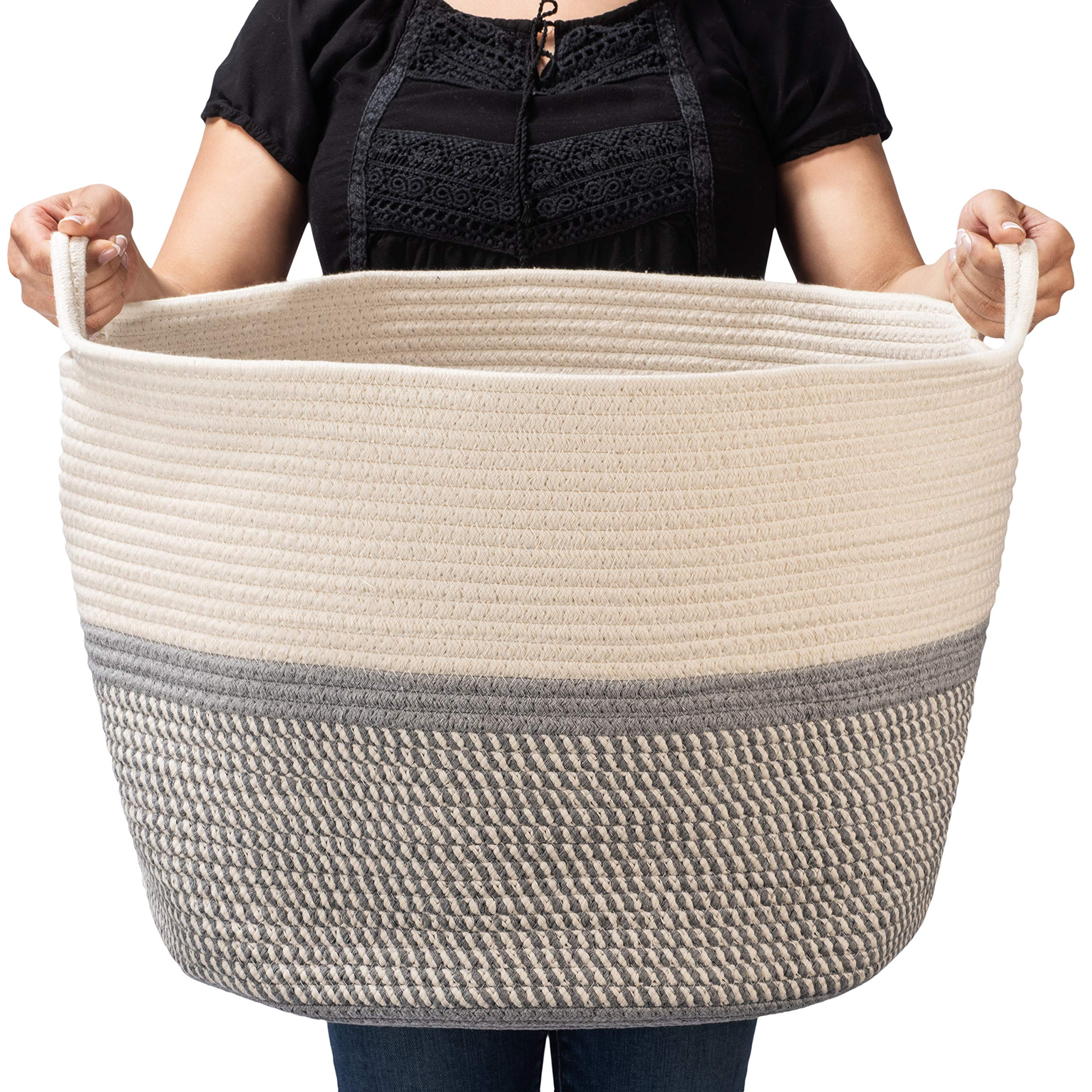 BASKETCASE XXXLarge Cotton Rope Basket Large (21.7'' x 21.7'' X 13.8'') for Storage of Extra Large Toy Toys Blankets Laundry Baskets XXXL Hamper Decor for Bedroom Nursery Play Room''The Kate''