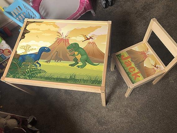 MakeThisMine, Mesa Infantil Personalizada y 1 Silla de Madera con Nombre de Dinosaurio Grabado Dino2 T-Rex Huevo Impreso Juego de Escritorio para niños y niñas Amigos y Familia: Amazon.es: Hogar