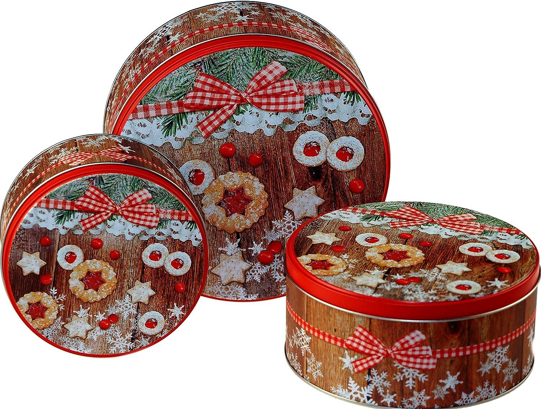 Set di 3 scatole di Latta per Torte Natalizie contenitori ermetici in Metallo BWG