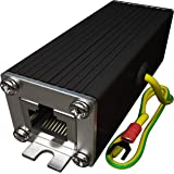 Tupavco Ethernet Surge Protector PoE+ Gigabit - Gas Discharge Tube for Full Protection - Mounting Flange - RJ45 Lightning Suppressor - LAN Network CAT5/CAT6 Thunder Arrestor - GbE 1000 Mbps TP302