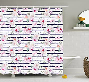 Navy And Blush Shower Curtain By Ambesonne Spring Bouquets On Stripes Orchid Peony Bell Flowers