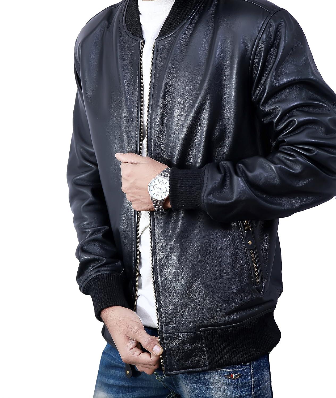 Bomber Jacket men, Black Genuine Lambskin Leather Jacket for Men, Novelty Style