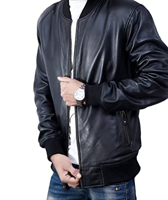 Bomber Jacket Men Black Genuine Lambskin Leather Jacket For Men