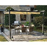 Kozyard Atlantics Outdoor Extra Large BBQ Grill Pergola with Sun Shade Gazebo Canopy Beige Canopy,UV Resistant Fabric, 10ft by 13 ft