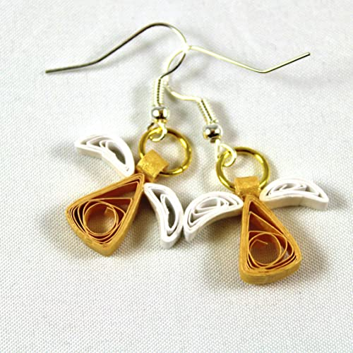 436243895 Amazon.com: Angel Earrings for Women Girls Handmade Jewelry Unique Gift  Idea Gold White Paper Quilling: Handmade