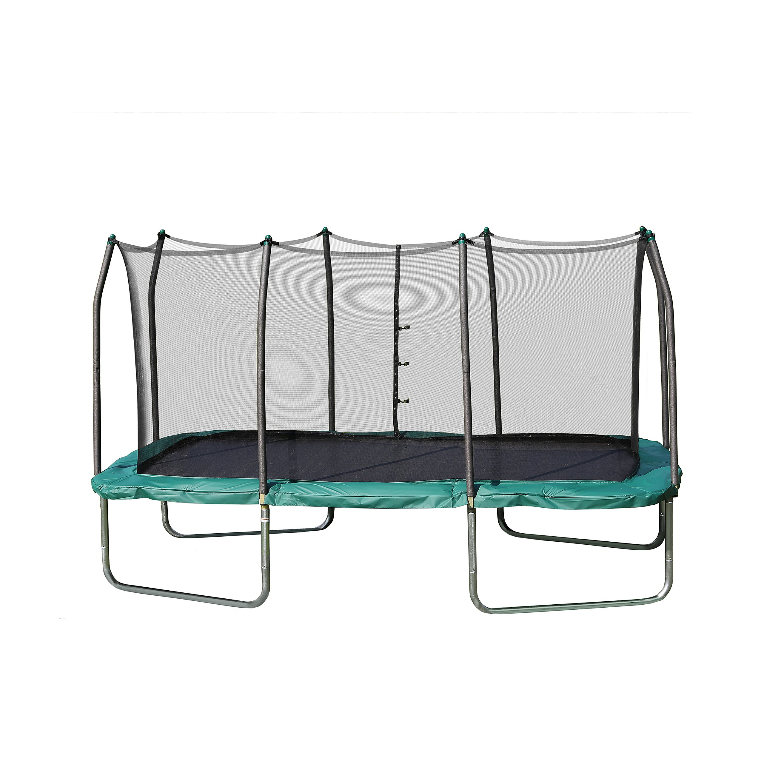 Skywalker Trampolines Rectangle Trampoline and Enclosure with Green Spring Pad, 8 X 14-Feet by Skywalker Trampolines