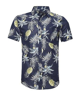 cf73cb464905 AVANZADA Men's Button Down Short Sleeve Pineapple Casual Tropical Hawaiian  Shirt Navy S