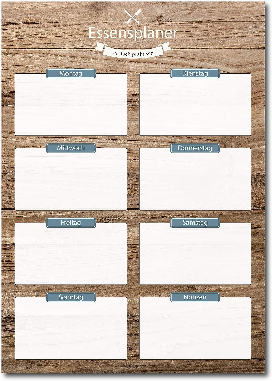KITCHENLY/® Wochenplaner und Essensplaner Block DINA3 Papier f/ür die Familie mit 50 Seiten f/ür Terminplanung und Wochenplanung