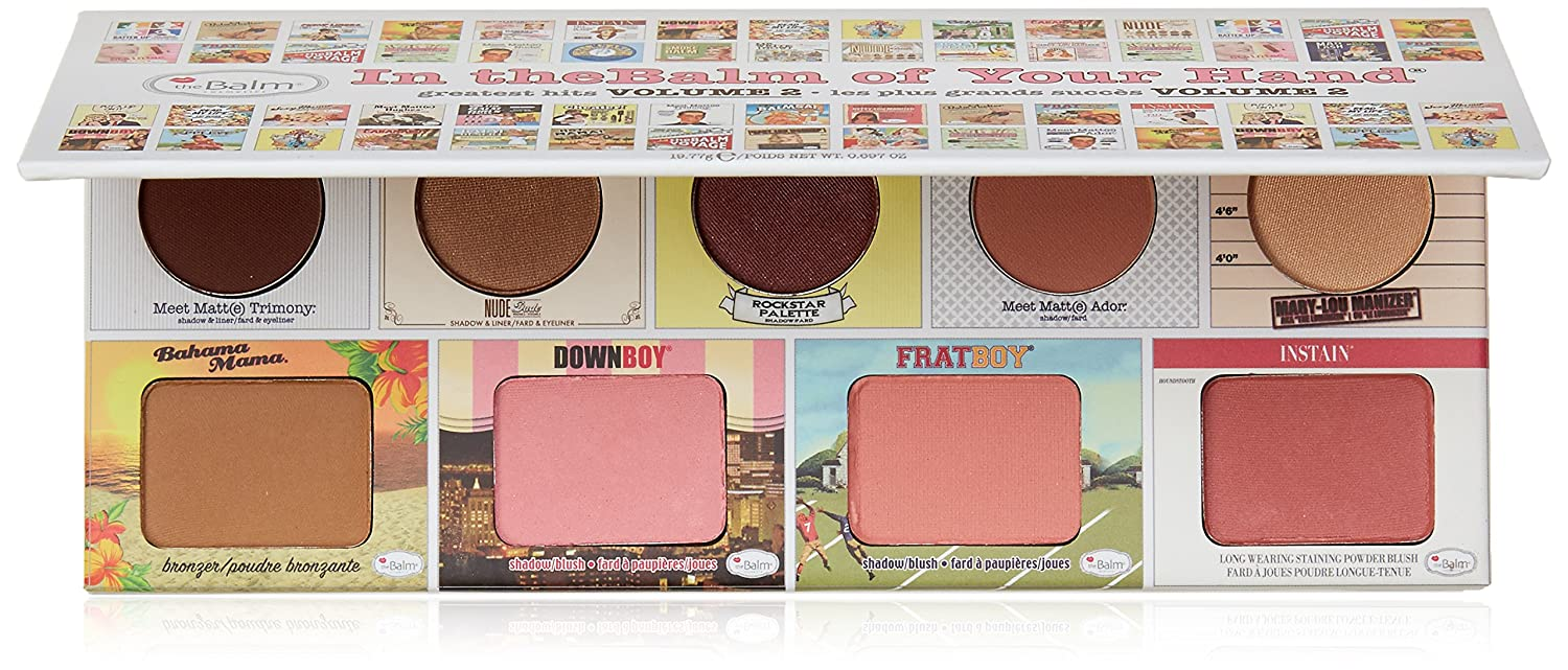 theBalm of Your Hand Greatest Hits Vol. 2 Face Palette, 4 Blendable Eyeshadows, 3Blush Colors, Matte Bronzer, Champagne-Hued Highlighter