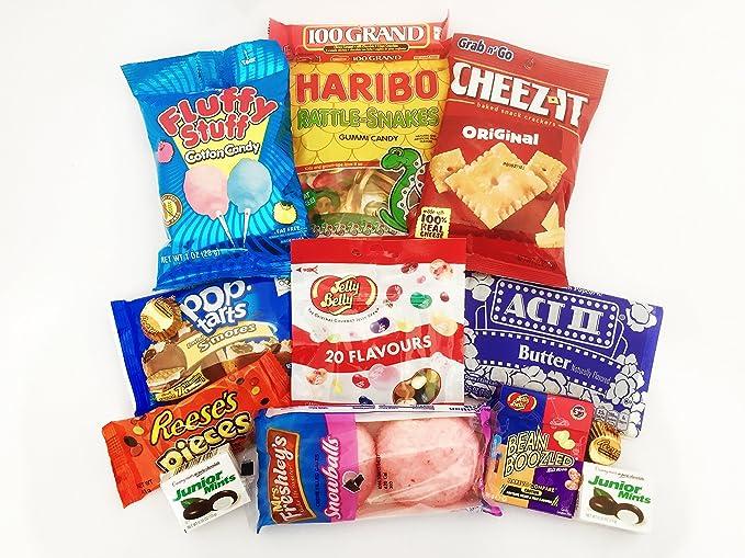 Gran surtido de Caramelos Americanas para Películas | Pack de Fiesta de Chuches Retro | Incluye