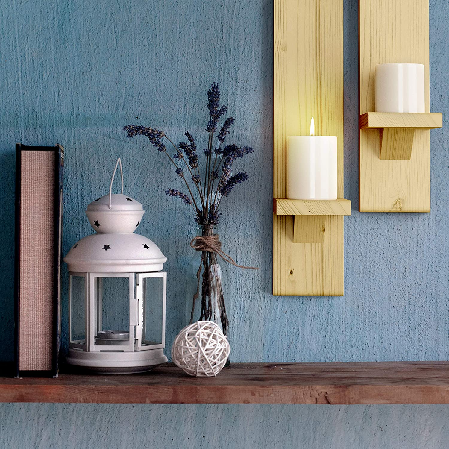 Floating Shelves Wall-mount Wooden Candle Holders Wallmounted Rustic Pillar Candle Sconce Rustic Candleholders Farmhouse Wall Decor Large Wooden Handmade Sconces Hanging Shelf