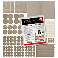 Premium Furniture Pads 206 pieces, 156 Heavy Duty Self Stick Felt Floor Protection pads and 50 Silicone Bumper pads