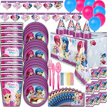 Shimmer and Shine Birthday Party Supplies - 16 Guest - Plates, Cups, Napkins, Tablecloth, Cutlery, Balloons, Banner, Loot Bags, Birthday Hats, Candles ...