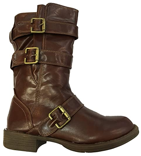 Manfield - Botas de sintético para mujer marrón gris 7frtee