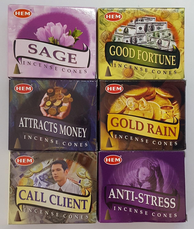 裾Cone Incense富と福祉Scentsコレクション/Assortment – Attracts money、Good Fortune、ゴールドストレス、セージの雨、、、コール6 10クライアント – 円錐ボックス、合計60 Cones   B01N4RE1MS