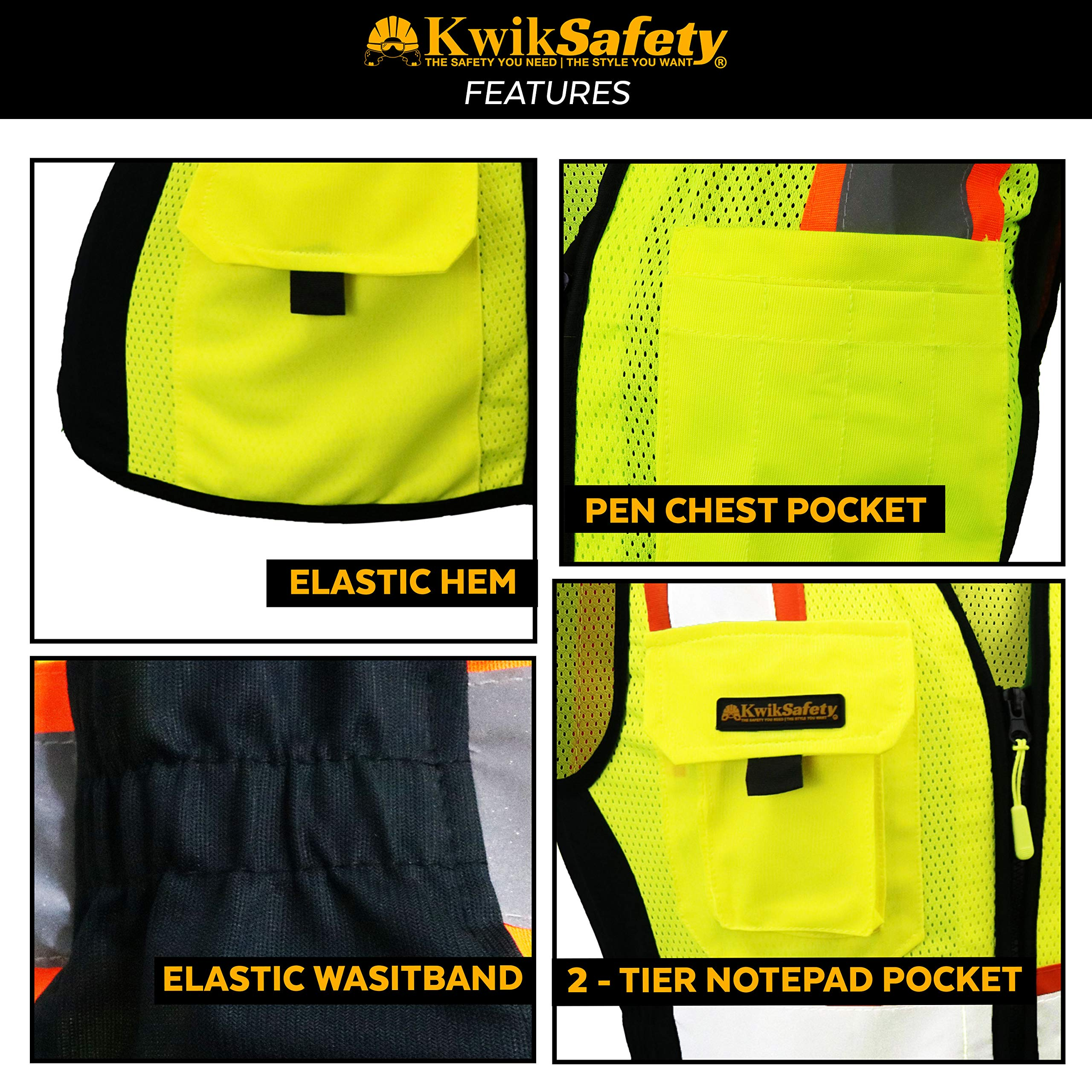 KwikSafety (Charlotte, NC) FIRST LADY Safety Vest for Women | Class 2 ANSI OSHA PPE | High Visibility Heavy Duty Mesh Pockets Zipper | Hi-Vis Construction Work Hi-Vis Surveyor Female | Yellow Large by KwikSafety (Image #3)