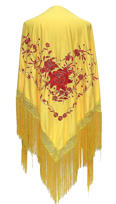 La Señorita Mantones bordados Flamenco Manton de Manila amarillo flores rojo Large