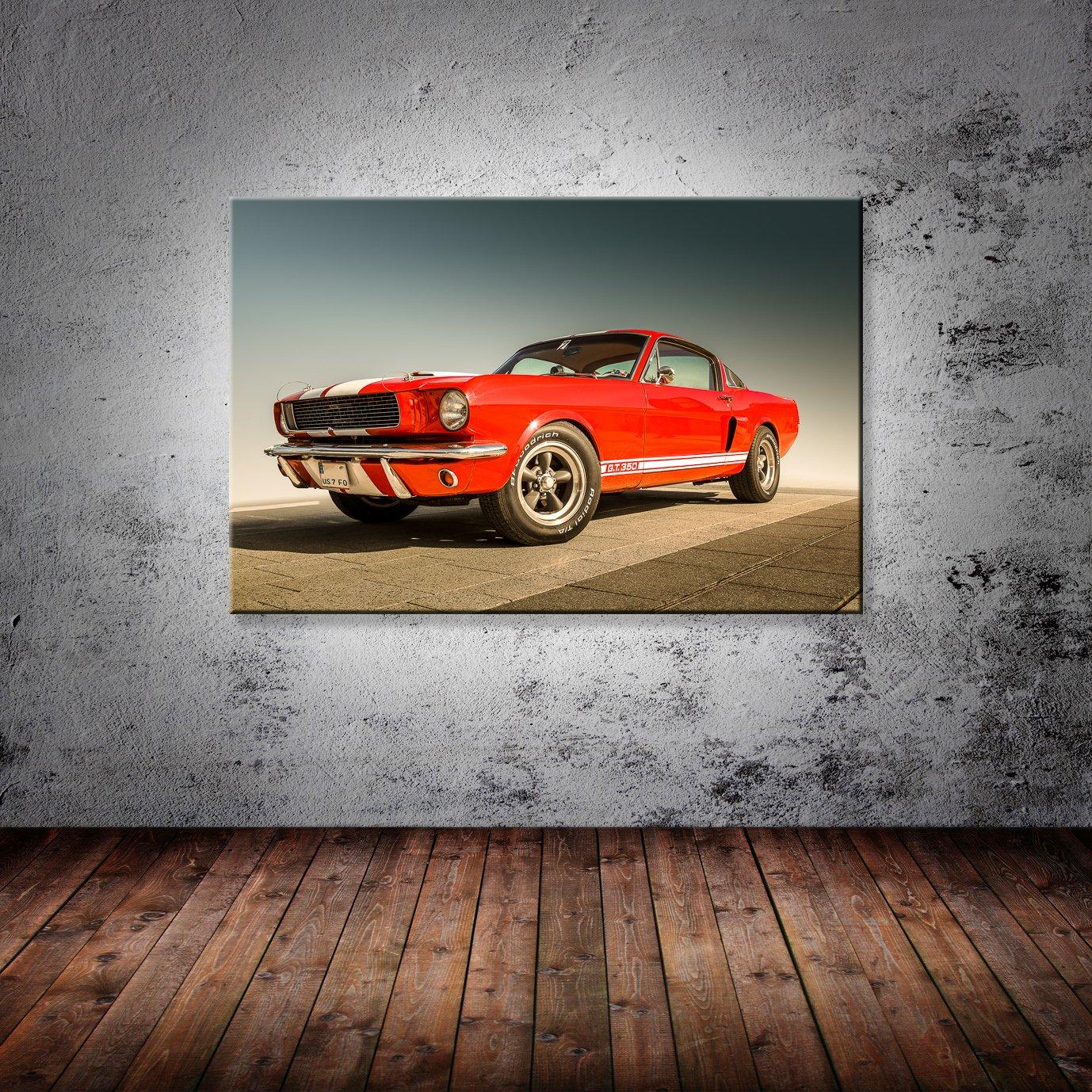 Ford GT BILD LEINWAND DEKO AUTO SPORT WAGEN POSTER BILDER WANDBILD SCHWARZ,