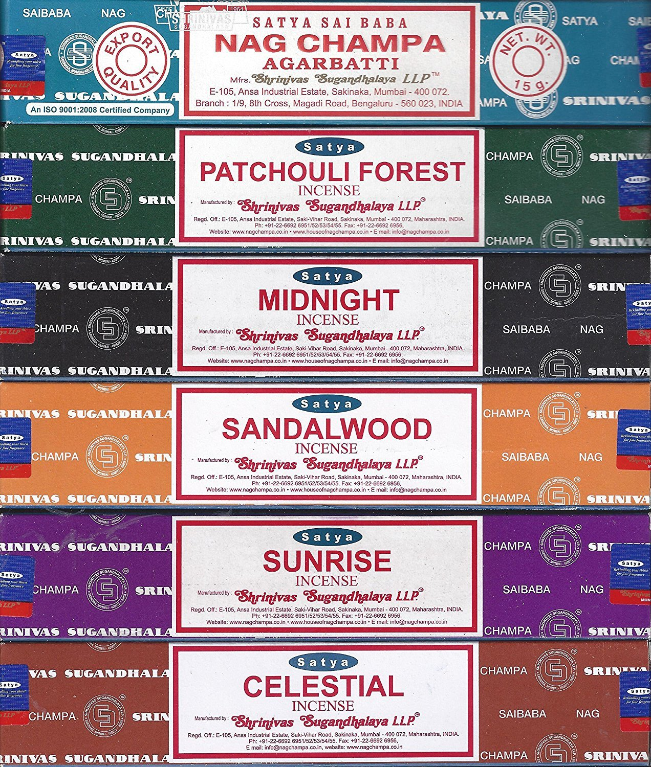 Satya - Set of 6 - Nag Champa, Sunrise, Sandalwood, Midnight, Patchouli, Celestial 15 grams NCS6
