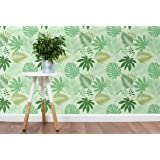 """CostaCover Removable Wallpaper with Fresh Green Tropical Leaves Jungle illustration self adhesive wallpaper - peel and stick wallpaper CC092 (Sample 6"""" x 10"""")"""