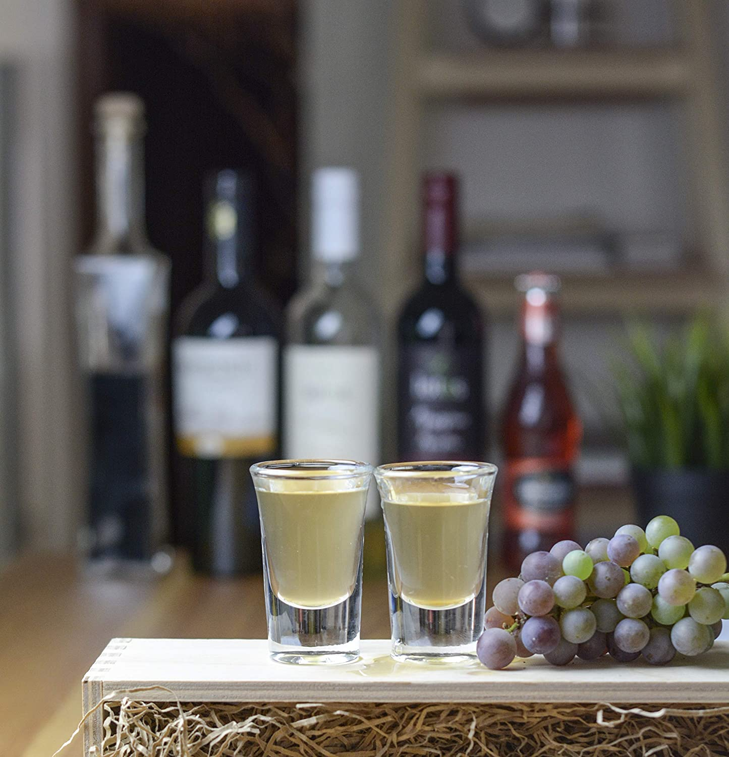 Elerise Shot Glasses Set of 6 made of glass with Thick Base 3cl 1 oz
