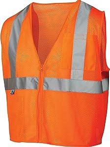 Pyramex RVZ2120L Lumen X Class 2 Safety Vest with Zipper, Large, Hi-Vis Orange