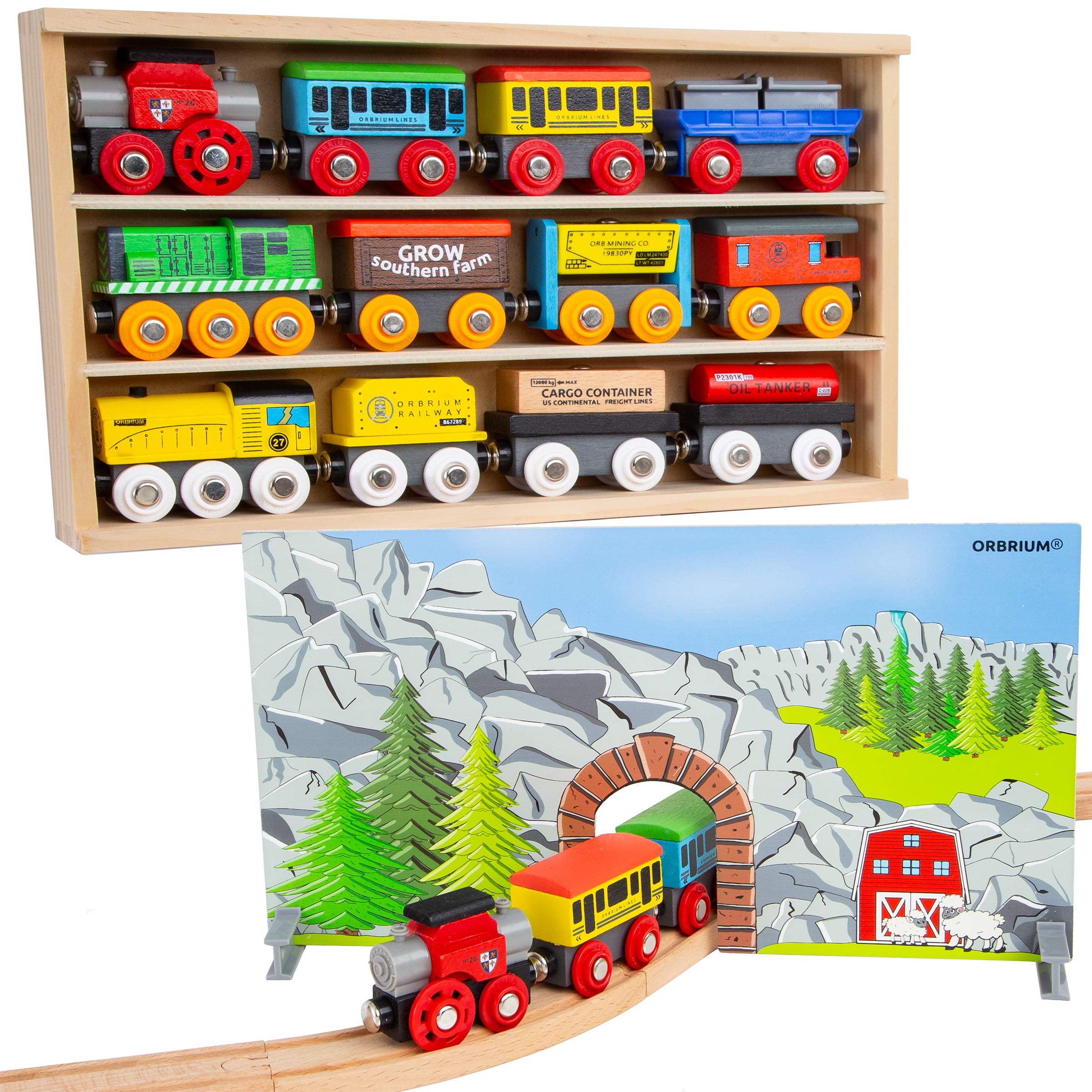Orbrium Toys 12 (20 Pcs) Wooden Train Cars for Kids + Dual-use Wooden Box Cover/Tunnel Wooden Train Set Trains Toy Compatible with Thomas Wooden Railway, Thomas The Tank Engine, Brio by Orbrium