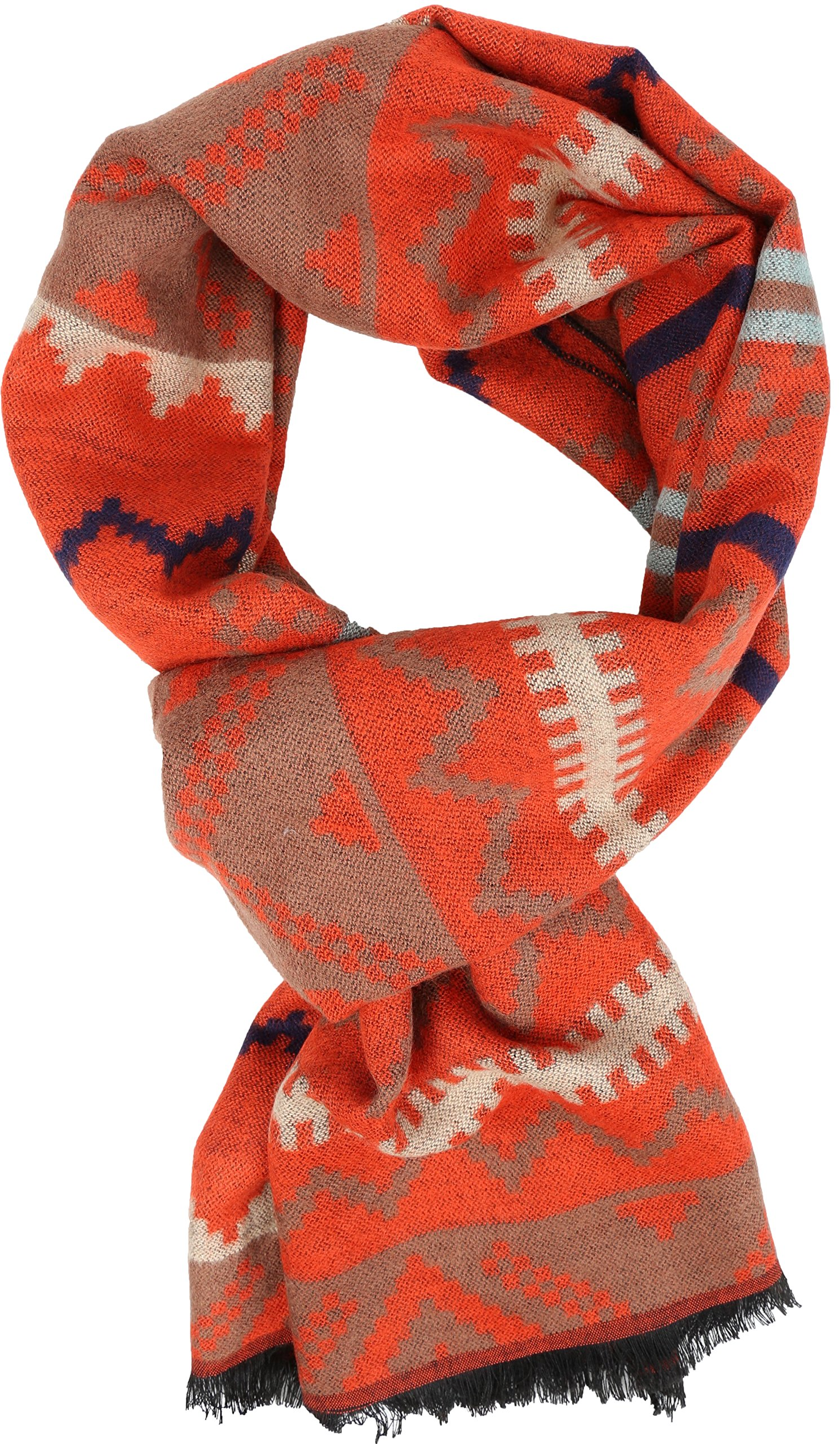 Sakkas 16129 - Xayn Long Aztec Tribal Warm Patterned UniSex Cashmere Feel Scarf - Orange - OS