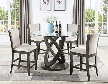 Amazon.com: Roundhill Furniture P085GY Cicicol - Mesa de ...