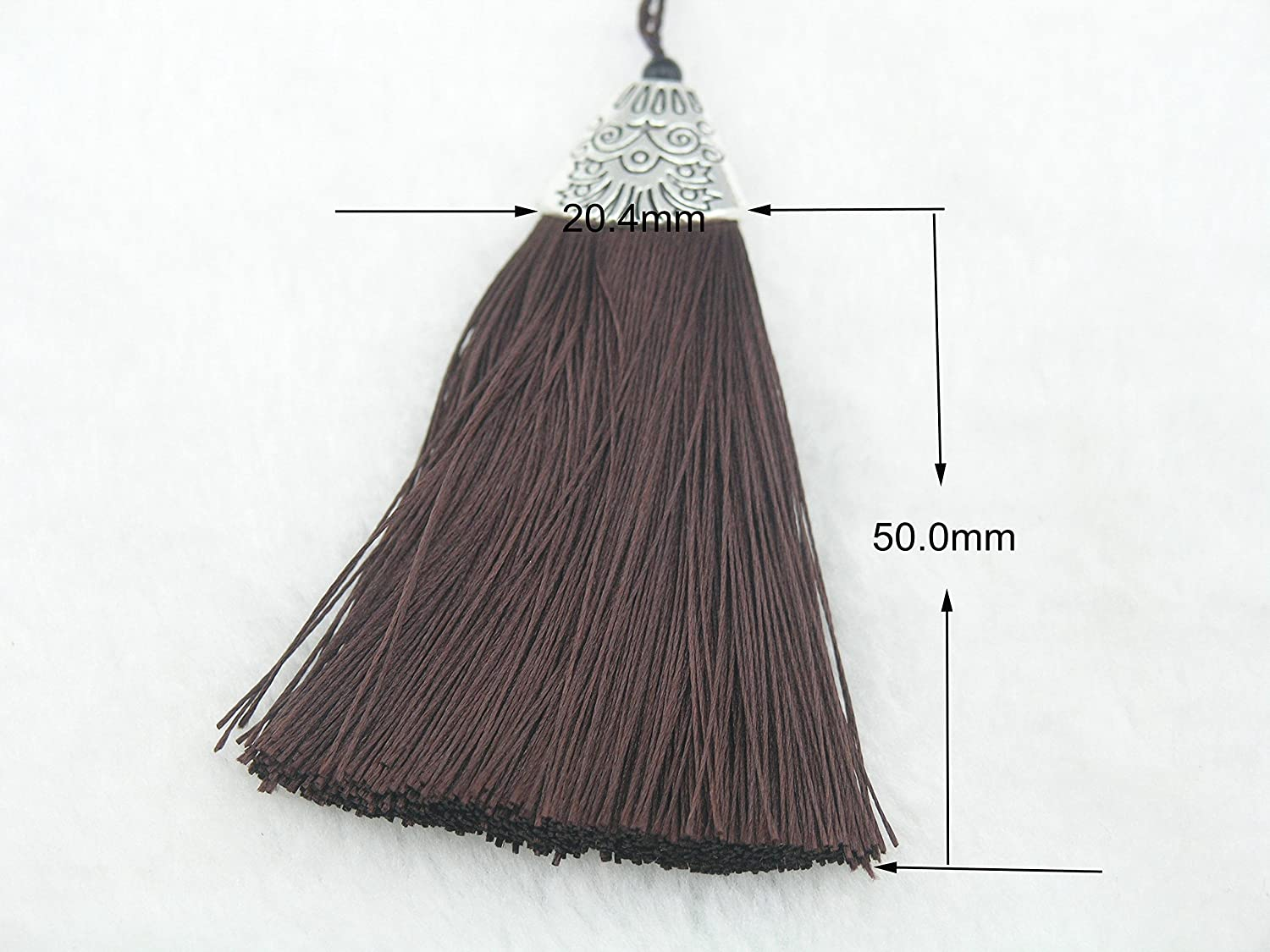 Soft Fiber Tassels with Antique Silver Cap 10pcs Peacock Blue Silky Handmade 2.2