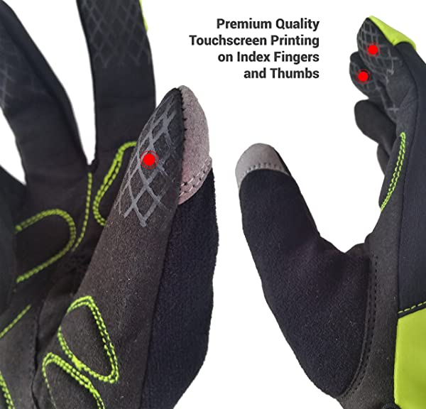 Hyke & Byke Premium Quality Touchscreen Full Finger Cycling Gloves