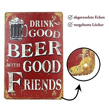 Blechschild Bier Retro Schild Vintage Magnet Metallschild Werbeschild 20x30  Cm Türschild Bier Sprüche Deko