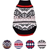 Blueberry Pet Nordic Pattern Inspired Fair Isle Black and White Snowflakes Dog Jumper, Back Length 51cm, Pack of 1 Clothes for Dogs