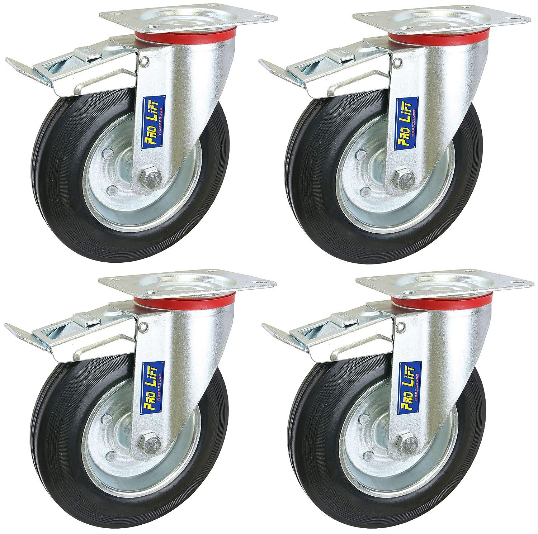 Pro-Lift-Werkzeuge 4 St/ück gebremste Lenkrollen je 210 kg Tragkraft Gummirollenbelag Durchmesser 200 mm Schwerlastrollen mit Bremse Transportrollen 4x Rollen