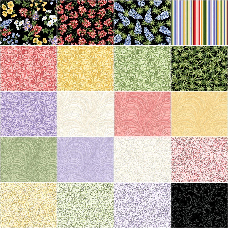 Jackie Robinson A Wildflower Meadow Pinwheel 40 2.5-inch Strips Jelly Roll Benartex