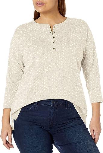 Chaps Womens Plus Size 3//4 Sleeve Crewneck Henley Shirt