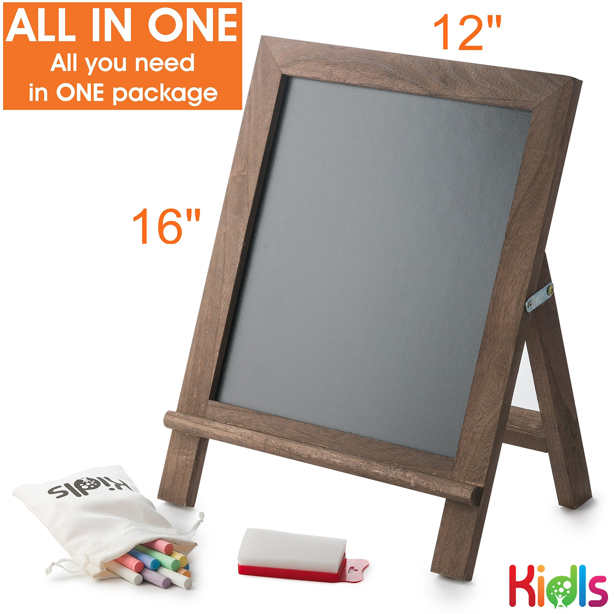 Premium Wood Framed Rustic Standing Chalkboard 12 x 16. Non-Porous Vinyl Surface. For Home, Bars, Restaurants and Weddings - for the Vintage Look! FREE BONUS: 24 chalks + Eraser + Storage Bag by KidisPro (Image #5)