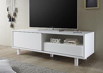 Aladin Tv Mobel Schiebetur Und Sk Holz Weiss Matt 156 X 50 X 50