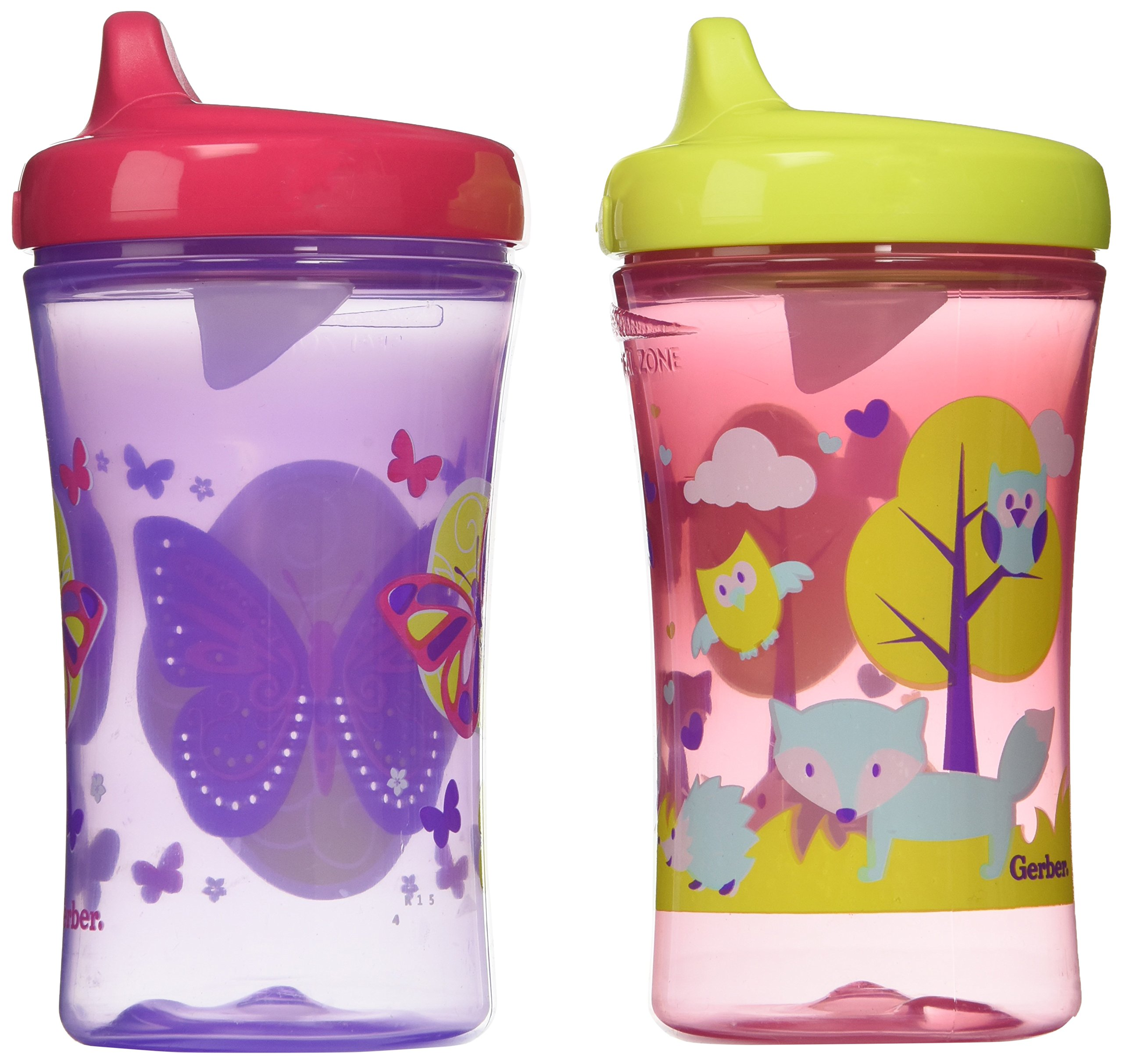 Gerber Graduates Advance Developmental Hard Spout Sippy Cup in Assorted Colors-2 Pack, 10-Ounce (Theme May Vary)