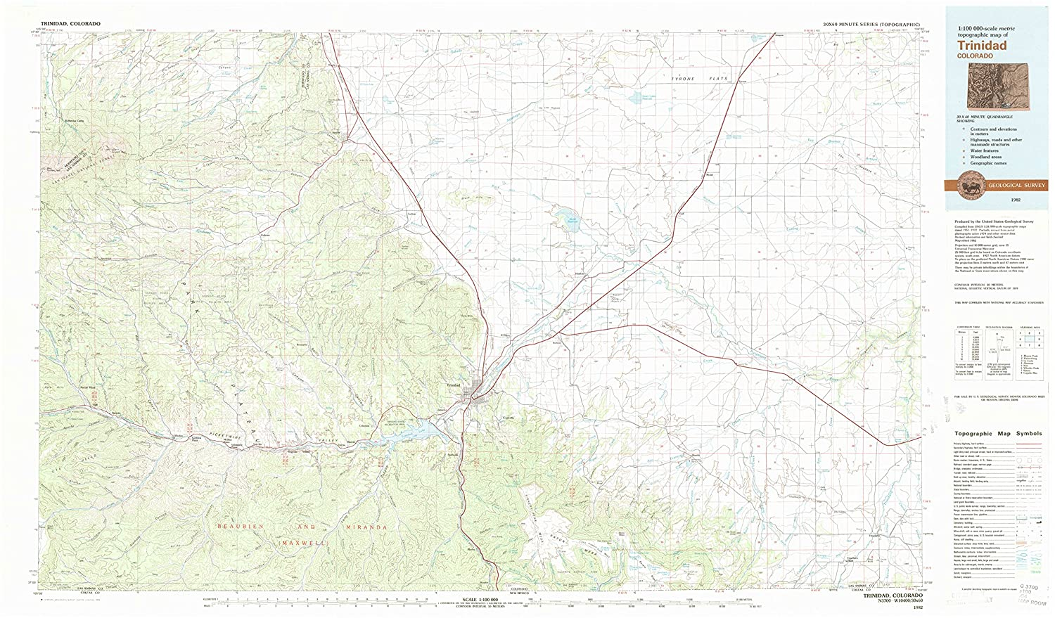 Amazon Com Yellowmaps Trinidad Co Topo Map 1 100000 Scale 30 X