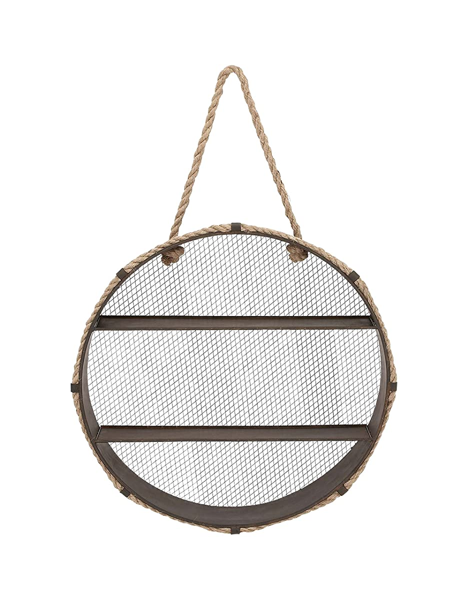 Deco 79 93936 Metal & Rope Wall Shelf