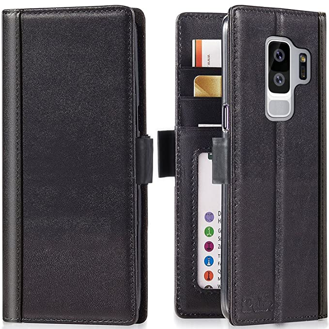 san francisco 33a8f 9d50f Galaxy S9 Plus Wallet Case - iPulse Journal Series Italian Full Grain  Leather Flip Case for Samsung Galaxy S9 Plus with Magnetic Closure - Black