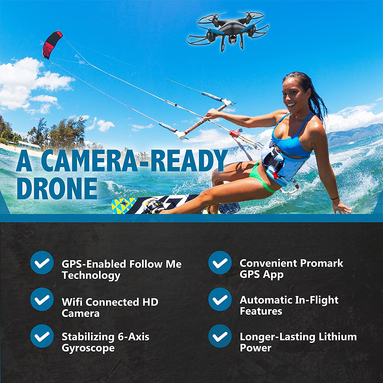 720p WiFi Camera 6-Axis Gyroscope for Panoramic Shots Promark: GPS Shadow Drone Premier GPS-Enabled Drone with Follow Me Technology Lithium Batteries Included Includes VR Goggles