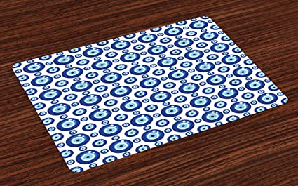 Amazon com: Ambesonne Evil Eye Place Mats Set of 4
