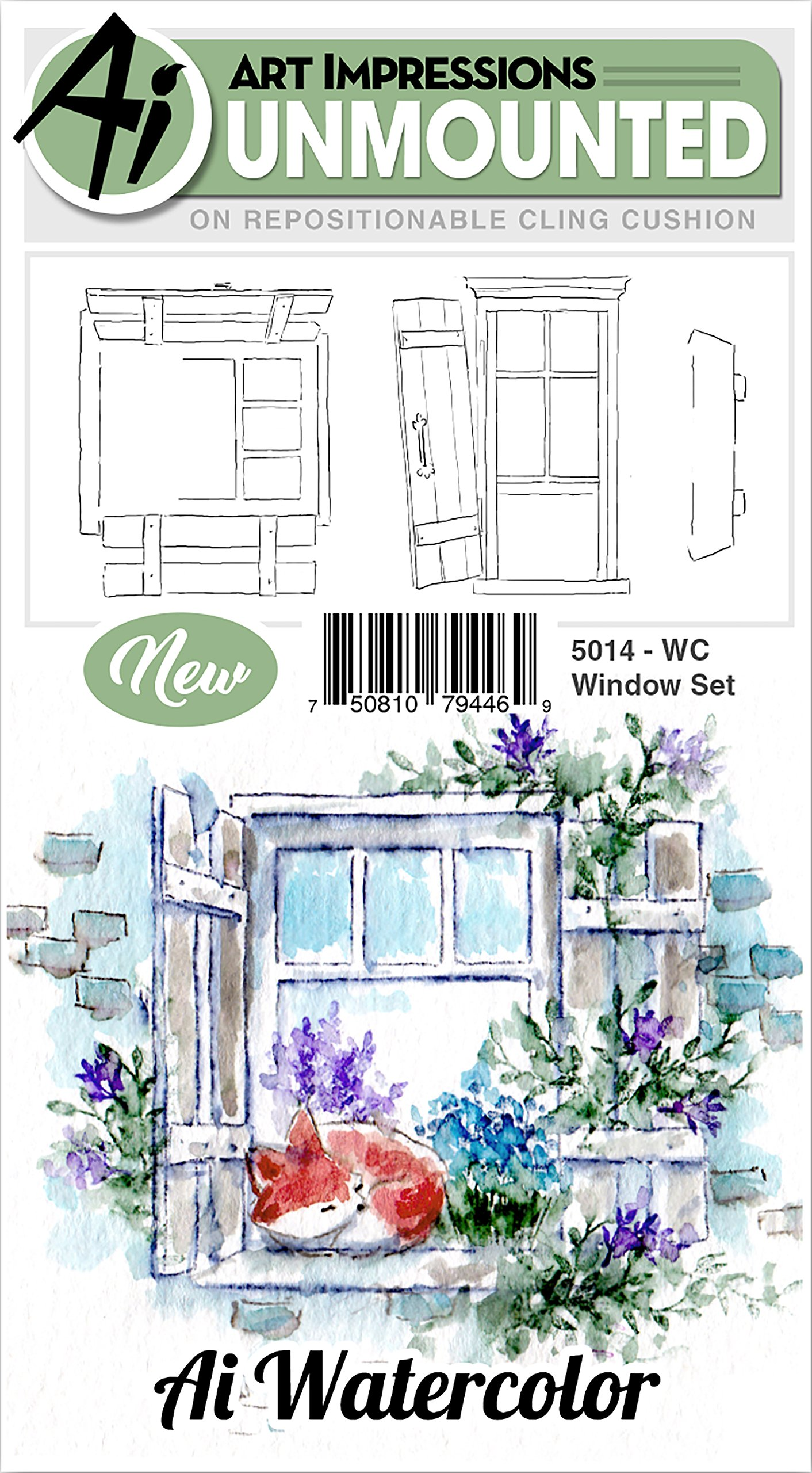 Art Impressions 5014 Watercolor Cling Rubber Stamps Window Multicolor