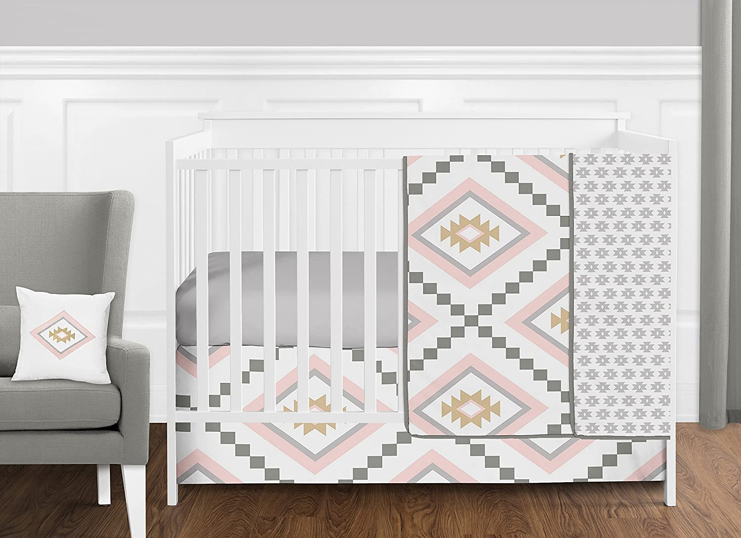 11 Pc. Blush Pink und Grey Boho und Tribal Aztec Baby Girl Crib Bedding Satz durch Sweet Jojo Designs